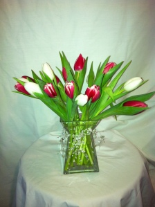 Tulip Love 69.95Plateau vase accented with clear beads and designed with tulips.